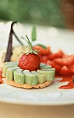 Rhubarb and strawberry tart