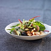 Pasta shell and beetroot sprout salad