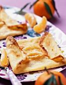 Crêpe soufflée à la mandarine (Gratinierte Crêpes mit Mandarinen-Baiser-Füllung, Frankreich)
