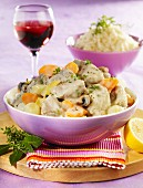 Blanquette de veau (veal ragout in a light sauce, France)