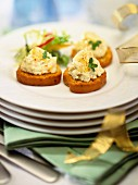 Crostini topped with chicken mousse