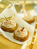 Crostini with crab mousse