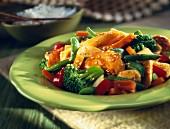 Chicken chop suey with sesame seeds