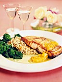 Fried salmon with wheat risotto and broccoli