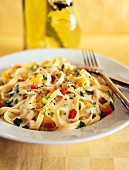 Tagliatelle with vegetables and a creamy sauce
