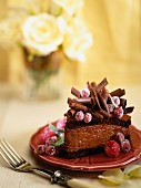 Chocolate cake with red berries