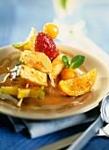 Caramelised fruit skewers