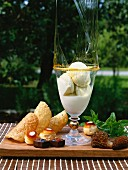 Vanilla ice cream with caramel, cones, profiteroles and morel mushrooms
