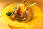 Fruit salad with mango ice cream