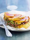 Apple,sausage meat and cabbage tatin tart