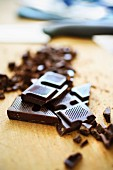 Chopped and grated dark chocolate
