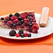Slice of summerberry pie