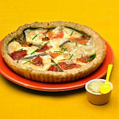 Tomme cheese,tomato and mustard quiche