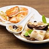 Steamed fish with ginger and mushrooms and salmon with soya
