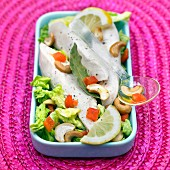 Chicken breast salad with cashews