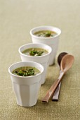 Cucumber soup with peppermint and chilli