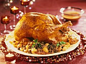 Stuffed turkey with morel mushrooms and roasted chestnuts