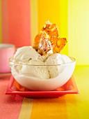 A vanilla ice cream sundae