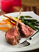 Lamb chops with a potato and carrot gratin