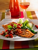 Grilled salmon fillet with cherry tomatoes