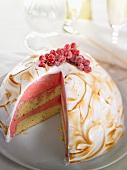 Redcurrant ice cream dessert