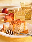 Apple and cinnamon cake with caramel sauce