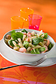 Penne salad with smoked trout