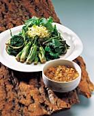 Grünes Gemüse mit Shiitake-Sauce