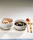 Cooked Sweet Rice & Radish and Mushroom Soup