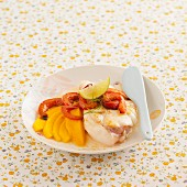 Monkfish with red pepper and mango
