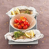 Seabream with coriander cooked in aluminium foil