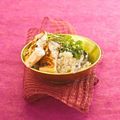Salmon with spices and creamy coconut rice