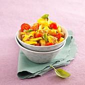 A warm salad with tortellini and tuna fish