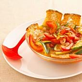 Neapolitan style tomato courgette soup