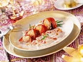 Lobster fricassee with a red whiskey sauce