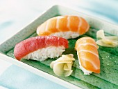 Sushi with red tuna and salmon