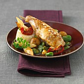 Roast rabbit with broad beans and dried tomatoes