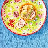 Onion and radish tartlet