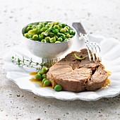Leg of lamb with peas