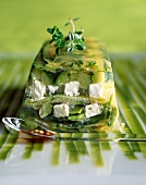 Green vegetable and feta terrine