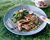 Rump steak with a radish leaf sauce