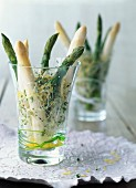 Asparagus with alfafa shoots