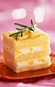 Vanilla and confit pineapple Entremet with rosemary
