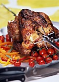 Roast chicken on skewer