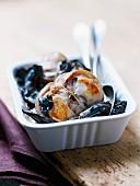 Paupiette stuffed with mushromms , black trumpet mushrooms