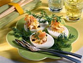 Egg filled with creamed trout