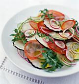 Black radish and summer vegetable salad
