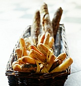 Basket of Baguettes and granary bread
