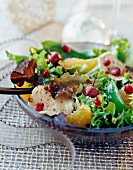 Chicken salad with citrus fruit and summer fruit