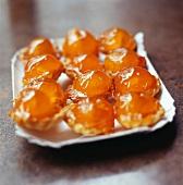 Confit apricot tartlets